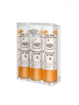 Trio PVC Sticks Lèvres Cire d'abeille et Karité 3 x 4g